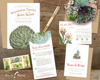 Wedding Invitation Suite: SAMPLE (Succulent, Cactus, Artichoke, Plants, Desert, Green, Coral)