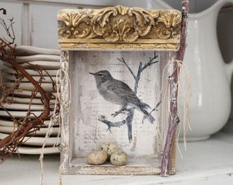 SOLD, Mary M..FRENCH BIRD Nesting Box, Vintage Salvage wood, French Ephemera, Mixed Media, Shadow box, Jeanne d Arc Living style, Cottage.