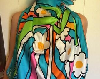 1960s Vera Flower Power  Pop Art Silk square, 27 x 27 Hand Rolled Edge