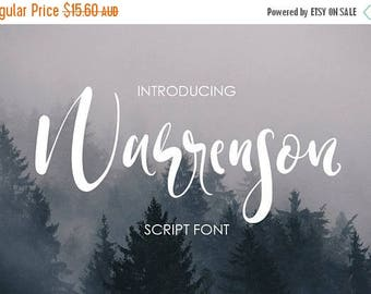 Digital Fonts 80% Off SALE Warrenson Script Font, Hand drawn Wedding Font, modern Calligraphy, Hand Written font, brush font, marker