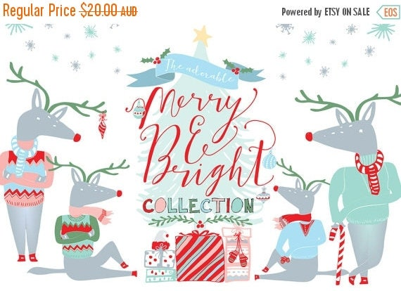 80% Off SALE Christmas Clipart, Digital Clip Art, Holiday Clipart, PNG, Vectors - Christmas tree, reindeer, Snowflakes, Deer, Presents, gift