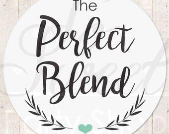 The Perfect Blend Sticker, Wedding Favor Stickers, Wedding Coffee Favor Label Sticker, Wedding Favor Ideas, Tea Favor Sticker - Set of 24