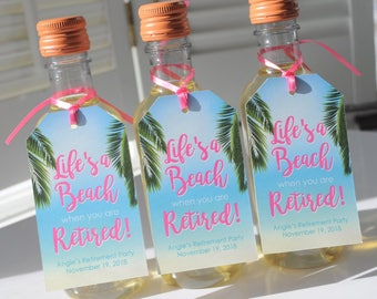 Beach Retirement Party Favor Tags, Retirement Wine Favor Tags, Happy Retirement, Mini Wine Bottle Tags, Mini Champagne Tags - Set of 12