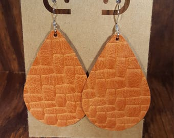 Leather Earrings, Leather Jewelry, Distressed, Persimmon ,Orange, Braided, Statement Earrings, 100% Leather, Tear Drop, Lightweight
