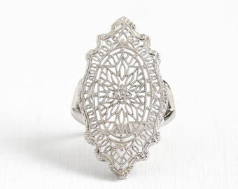 Vintage 14k White Gold Filigree Shield Ring - Antique 1920s Size 6 Art Deco Flower Floral Fine Intricate Pin Conversion Jewelry