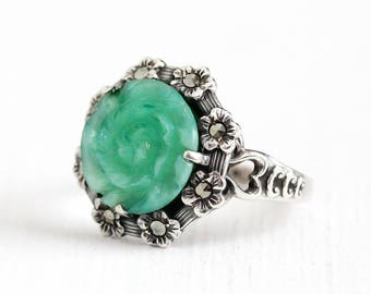 Vintage Sterling Silver Art Deco Peking Glass Ring - 1930s Size 7 1/2 Marbled Green Molded Glass Marcasite Halo Flower Heart Jewelry