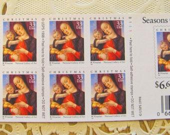 Bartolomeo Vivarini 20 Self Adhesive UNused US Postage Stamps 33c Traditional Christmas XMas Save the Date Madonna Virgin Mary Jesus Venice