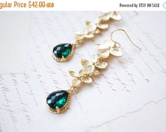 SALE Earrings, Gold Earrings, Flower Earrings, Long Earrings, Dangle Earrings, Drop Earrings, Emerald Earrings, Handmade Earrings, Gift for