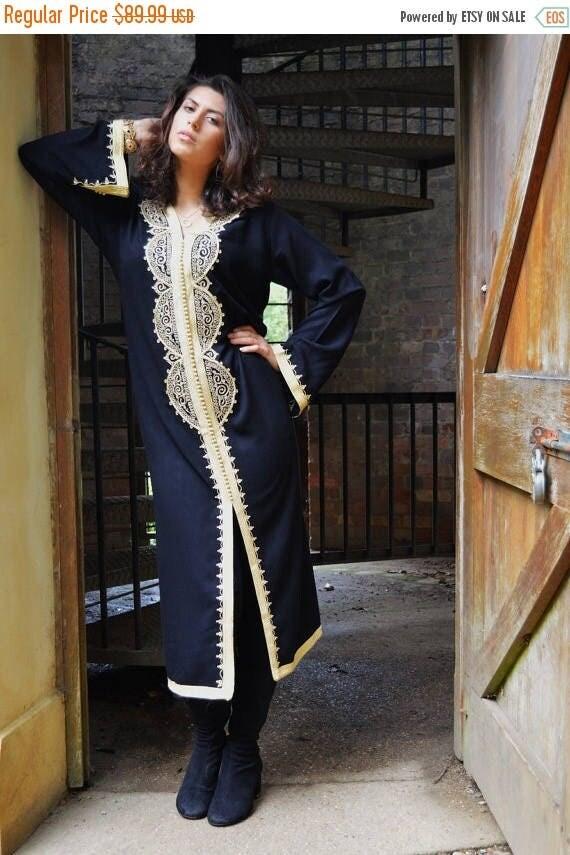 Autumn Dress 20% OFF/ Autumn Winter Black Moroccan Caftan Kaftan -Lella  Style -Luxury loungewear, traditional abayas, resortwear, Birthdays