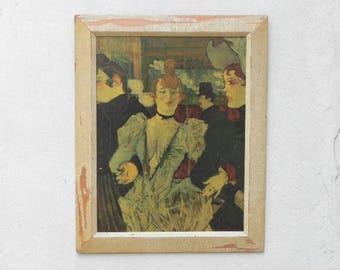 La Goulue Arriving at The Moulin Rouge With Two Women by Toulouse-Lautrec Print on Board
