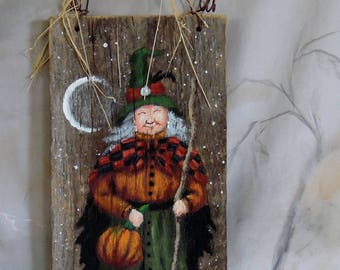 """Parsley's Pumpkin Patch, hand painted barnwood, Halloween witch, 5 1/4"""" x 11 3/4"""""""