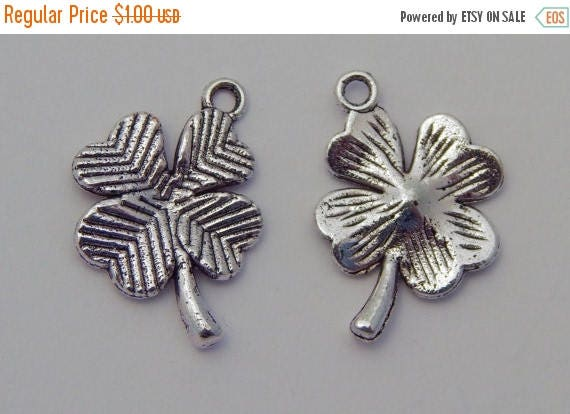 CLOSING SALE Metal Jewelry Charm - Four Leaf Clover, 4 Leaf Clover, Plant,  Silver Color, 15mm, 10 Pieces