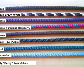 """Rope by the foot, choose 6, 8 or 10' . Make your own reins or leash!  5/8"""" thick, soft and lightweight Poly (Derby) Rope"""