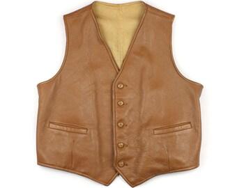 vintage mens leather vest • genuine leather size large