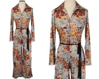 vintage LANVIN jumpsuit • 1970s designer belted zip front pants suit