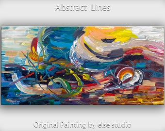 "Original Art huge Impasto Texture modern acrylic painting  Abstract Painting on gallery wrap linen canvas by Tim Lam 48""  x 24"""