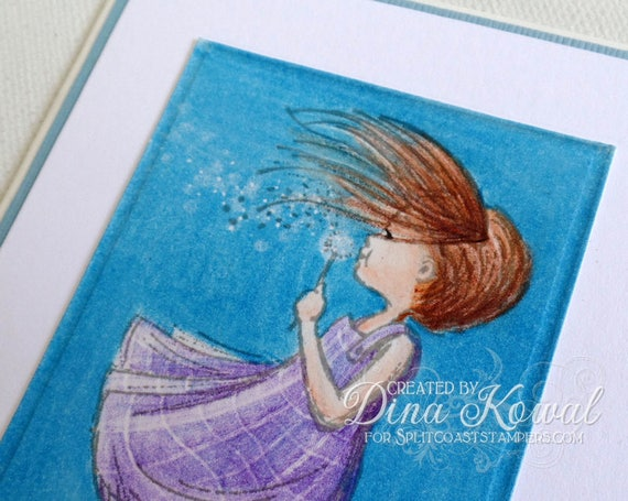 handmade greeting cards - Blowing Wishes Dandelion Girl