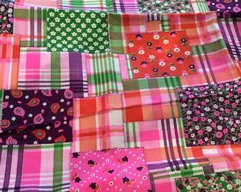 Vintage Mod Fabric Flower Power Plaid Patchwork Boho