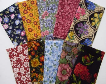 10 Assorted Floral Cotton Fabric Scraps, 8x10, Calico Stash Builder, Destash, Quilting, Sewing