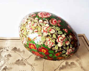 Large Egg Shaped Papier Mache and Hand Painted Trinket Box from Kashmir India/Easter Egg Lacquer Box