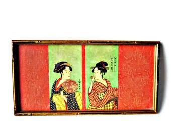 Framed Japanese Geisha Woodblock Prints/ Two Geisha Girls/ Bamboo Framed Vintage Japanese Prints