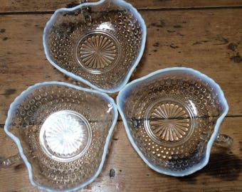 Vintage 1930 Set of Three Milk & Clear Glass Strawberry Shaped Serving Dishes Bowl.
