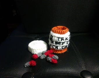 Crochet Sports team chill pills with bottle ANY COLORS