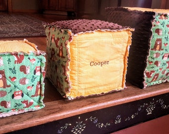 Embroidered blocks etsy huge stackable kids blocks fabric toy blocks woodland set of 3 x large negle Images