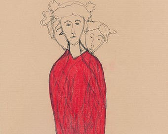 Millicent's Red Dress by Ina Mar. Original outsider art 8x11in.
