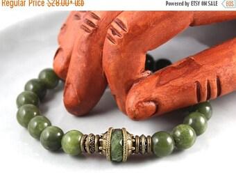 LATE SHIP SALE Natural Jade Bracelet, Green Jade Bracelet, Jade Mala Bracelet, Stretch Bracelet, Mala Bracelet, Green Jade Mala, Mens Jade B