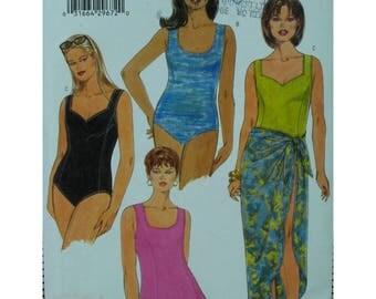 "Full Figure Swimsuit Pattern, Scoop/Square Neck, Princess Seams, Skirt, Draped Skirt, Butterick No. 6090 UNCUT Size 16W 18W 20W Bust 38-42"""