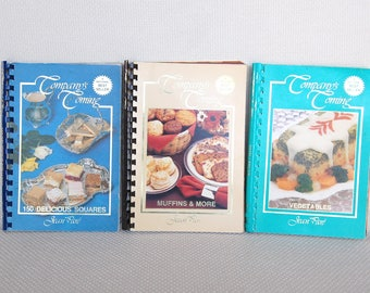 "Set 3 Vintage Cookbooks ""Company's Coming"" Vegetables ca 1989, 150 Delicious Squares ca 1981, Muffins & More ca 1983 Sprial Bound Soft Cover"