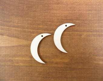 """Wood Earrings Moon Quarter Blank 1 1/2"""" H x 1/8"""" Laser Cut Unfinished Wood Jewelry Making Shapes - 20 Pieces"""