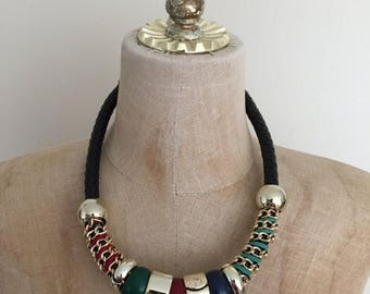 30% OFF 1980's Gold + Leather Statement Necklace