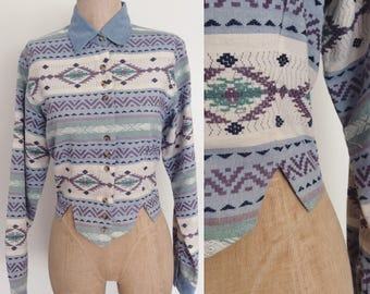 1980's Blue Woven Cropped Button Up Top Size Small by Maeberry Vintage