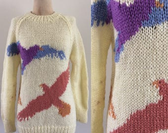 1970's Seagull Bird Print Knit Cream Vintage Pullover Sweater Size Small Medium by Maeberry Vintage