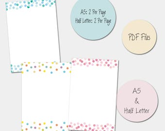 Printable Planner Inserts, A5, Half Letter, Planner Pages, Multi Colour, Green & Pink Confetti, Instant Download