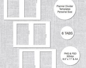Personal Planner Divider Template, 6 Tabs, PSD & PNG, Instant Download