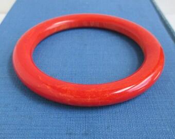Bakelite Bangle Bracelet - Vintage, Red Orange w/ Yellow Marbling