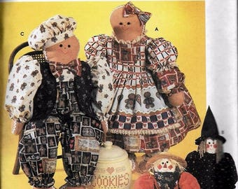 Dolls & Clothes Patterns - Gingerbread, Scarecrow, Witch  S7345