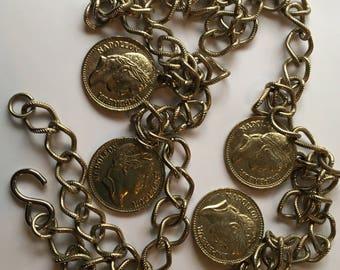 Vintage Coin Chain Belt Empereur Napoleon