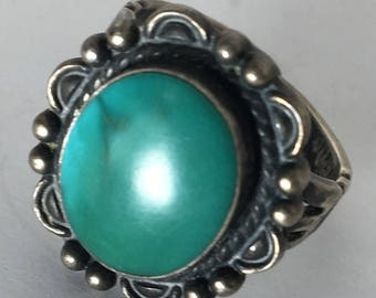 Vintage Sterling Silver and Turquoise Adjustable Ring Blue Green