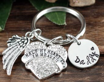Half My Heart is In Heaven Keychain, Personalized Memorial Key Chain, Sympathy, Loss of Father, Bereavement Gift, Remembrance Keychain