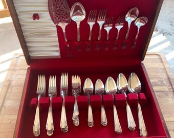 Vintage Flatware Set / Vintage Silverware Set / Triple Silver Plate Flatware Set / Rogers Oneida Flatware / Monogram S / Includes Wooden Box