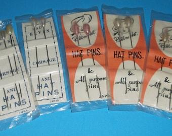 Vintage NOS New Corsage Hat Pins -Pearl Tips- Original Pkgs. Japan
