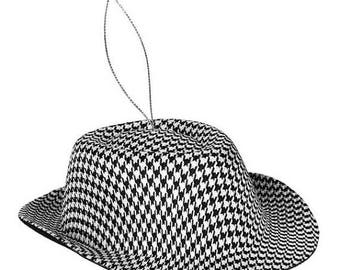 ON SALE Houndstooth Hat Ornament XY6633, Fedora Style Hat, Wreath Decor, Christmas Tree Decor, Decorations