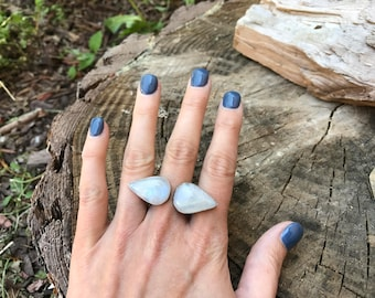 Rainbow Moonstone and Sterling Ring - Size 8