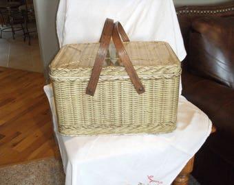 Vintage Metal Picnic Basket