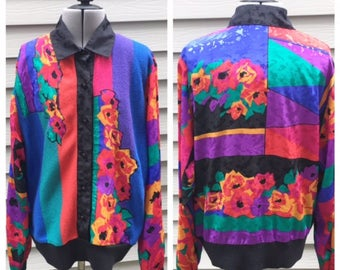 Vintage 80s Satin and Knit Floral Bomber Jacket, Colorblock Sweater, 80s Women's Clothing, 80s Blouse, 80s Sweater, 80s Cardigan, Size M