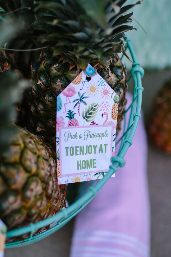Pink Flamingo Party Tags Pick a Pineapple to enjoy at home